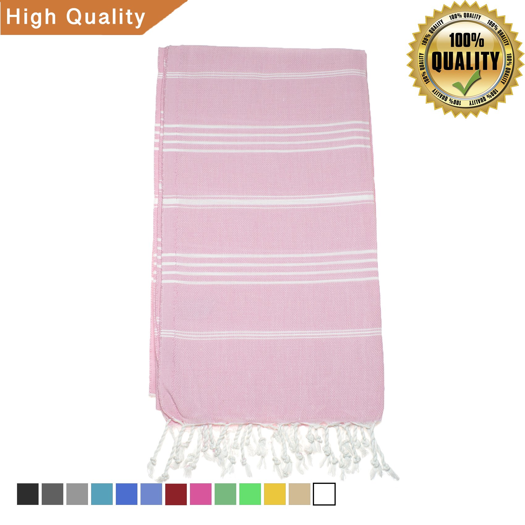 Exclusive District 100% Cotton Turkish Towel/Peshtemal for Beach, Spa, Pool, Bath, Gym 38''x70'' by (Flamingo)