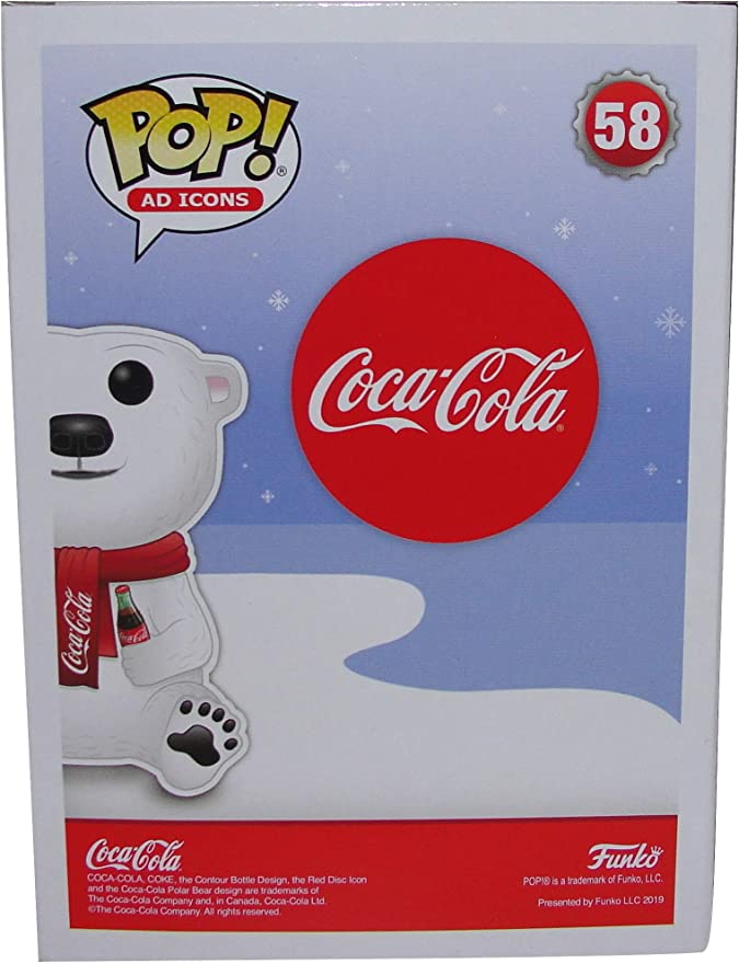 Funko Pop! AD Icons - Coca Cola Polar Bear Pop Vinyl Figure #58 - Coke Polar Bear - Coca Cola Pop + 1 Coca-Cola Trading Card + Cardboard Pop Protector ...