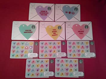 Amazon Com Starbucks Valentine S Day Gift Cards Set Of 5 Die Cut