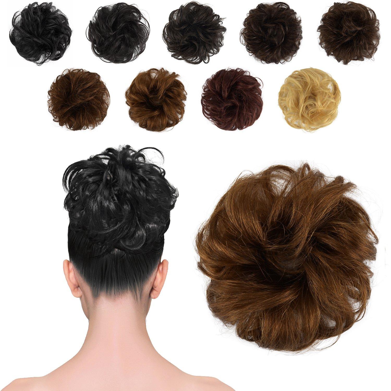 FESHFEN 100% Human Hair Scrunchies (4# Medium Brown) Curly Messy Hair Bun Extensions Wedding Hair Pieces for Women Kids Hair Updo Donut Chignons