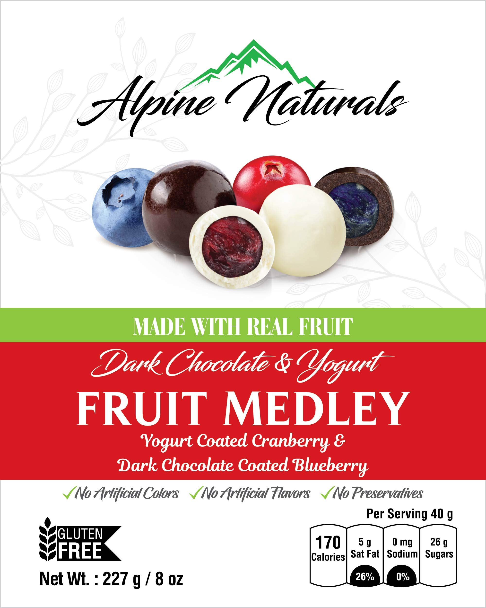 Alpine Naturals Fruit Medley Dark Chocolate Blueberries & Yogurt Cranberries, 8 Ounce