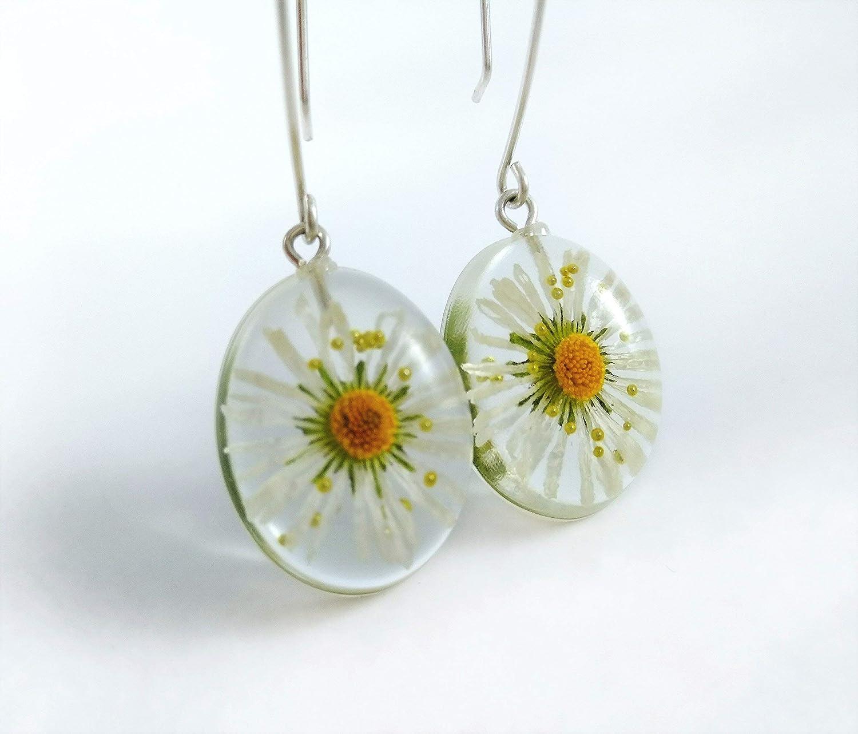 Resin Daisy Earrings Handmade Yellow or White Daisy Dangle Earrings
