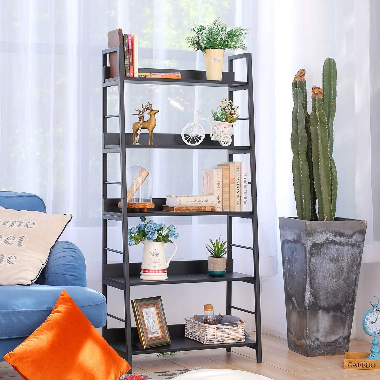 Bathwa Industrial 5-Tier Ladder Bookshelf Wood and Metal Bookcase Black Organizer Stand Rack Storage Ladder Shelves for Living Room Office Bathroom Kitchen, 5 Shelf
