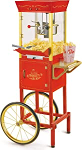 Nostalgia CCP510 Vintage Professional Popcorn Cart-New 8-Ounce Kettle-53 Inches Tall-Red (Renewed)
