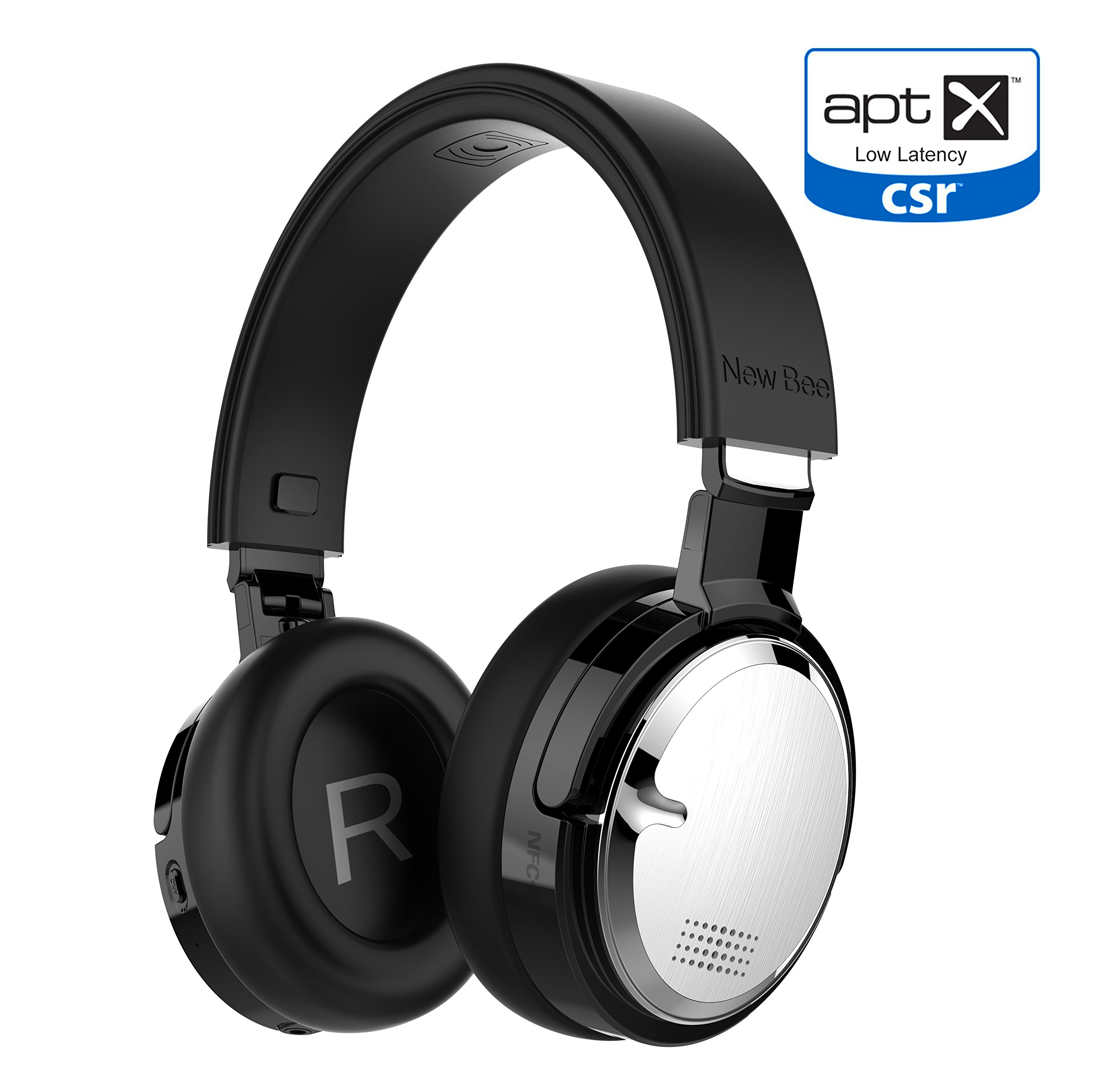 Wireless Charging Active Noise Cancelling Headphone New Bee Bluetooth 4.2 Wireless Headphones with aptX Low Latency Microphone Deep Bass HiFi Stereo Over Ear 60H Playtime for Travel/TV/Computer/Iphone by New bee
