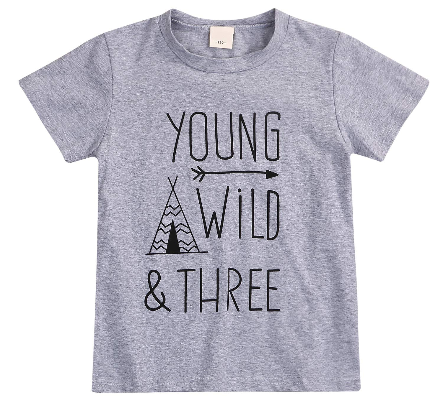YOUNGER STAR 1PC Children Baby Boy Gray Letter Print Short Sleeve T-Shirt Clothes Outfit by YOUNGER STAR