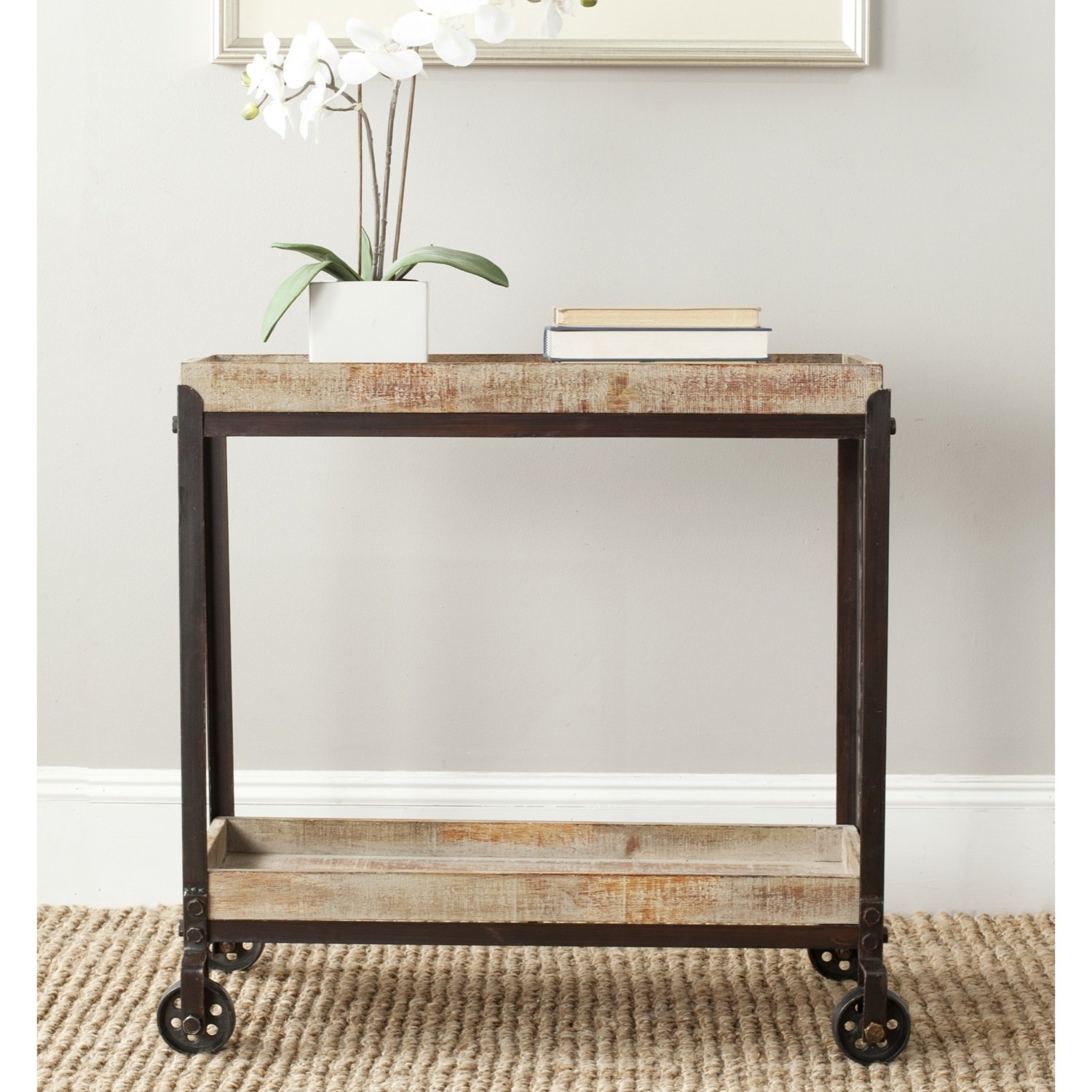 Safavieh American Home Collection Sally Natural Rolling Console Table