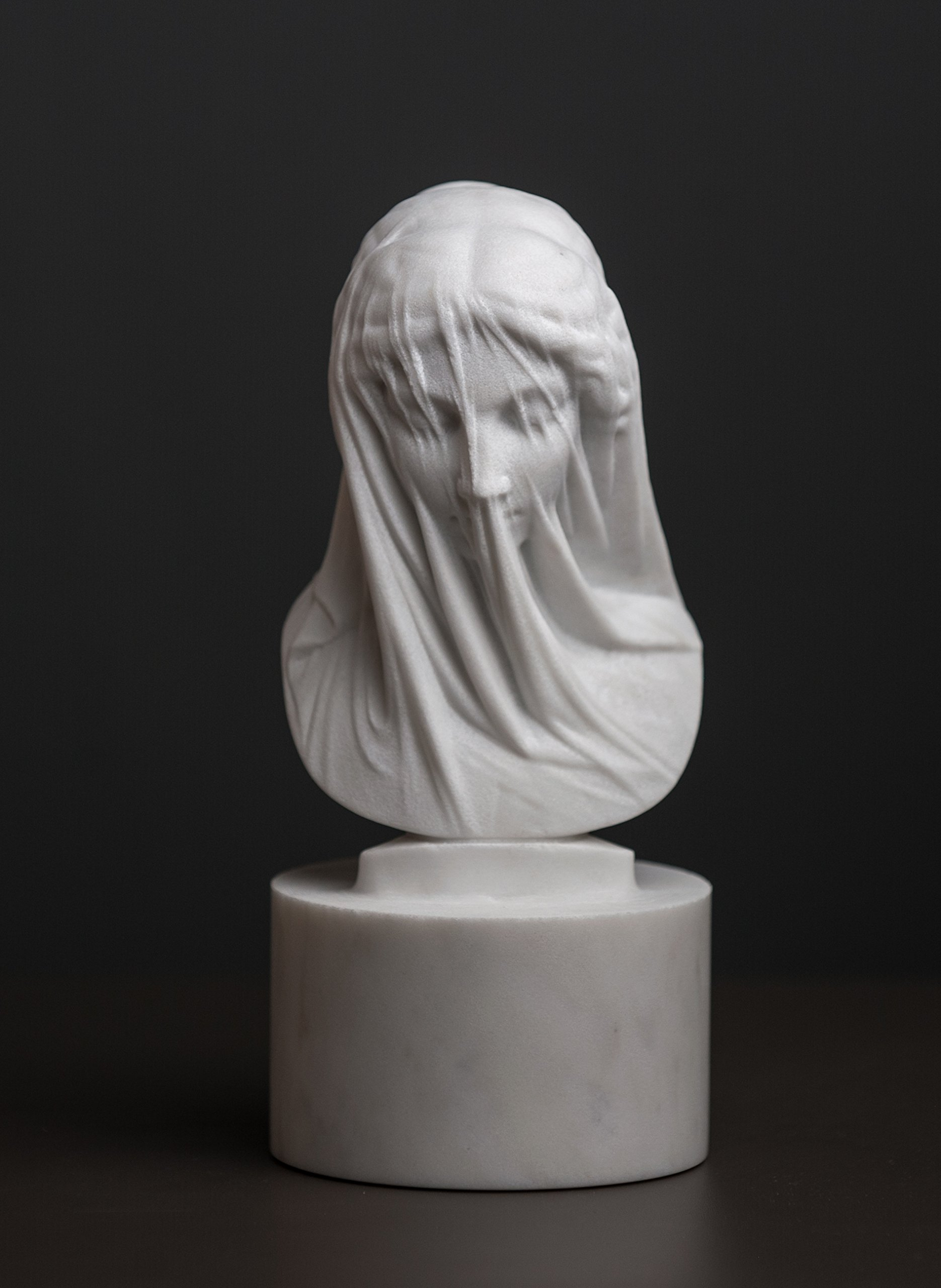 Marble Bust of The Veiled Virgin Mary by Strazza Carved Statue Artist Sculpture by Greek Marble Art