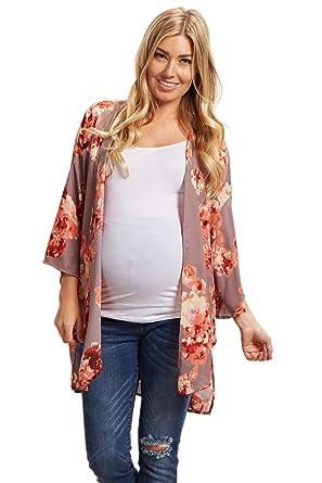 3e079fea9702 PinkBlush Maternity Floral Chiffon Kimono - Brown -: Amazon.co.uk: Clothing
