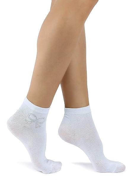 Mixmi Boutique Calcetines de algodón para mujer con lazo brillante (Azul Pastel)