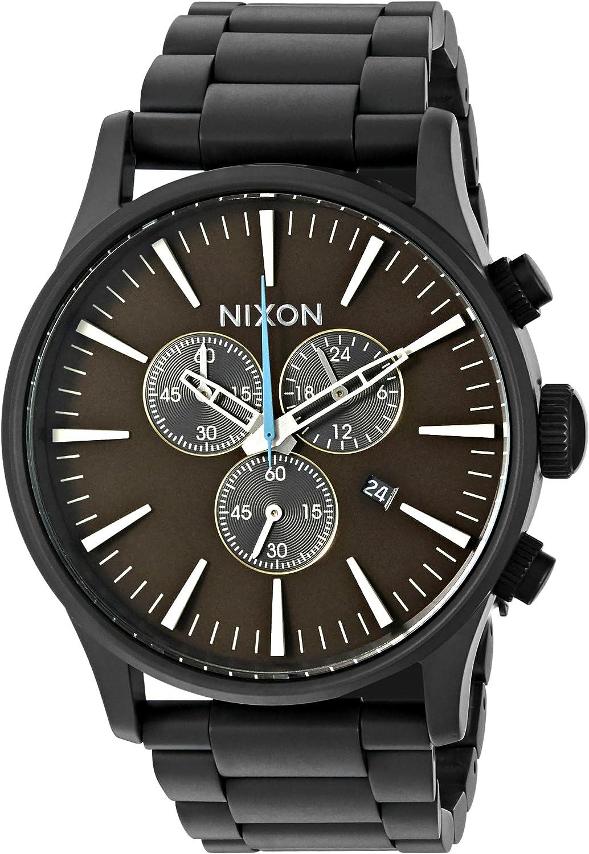 Nixon Men s A3862209 Sentry Chrono Analog Display Japanese Quartz Black Watch
