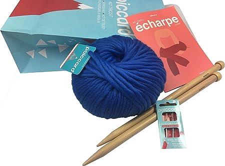 Kit de Punto para Adultos Principiantes – Pack Fijación para Tejer una Primera Bufanda en Gruesa Lana – Agujas de Tejer de Madera 15 mm – Gruesa Lana del Perú Azul Azur: Amazon.es: Hogar
