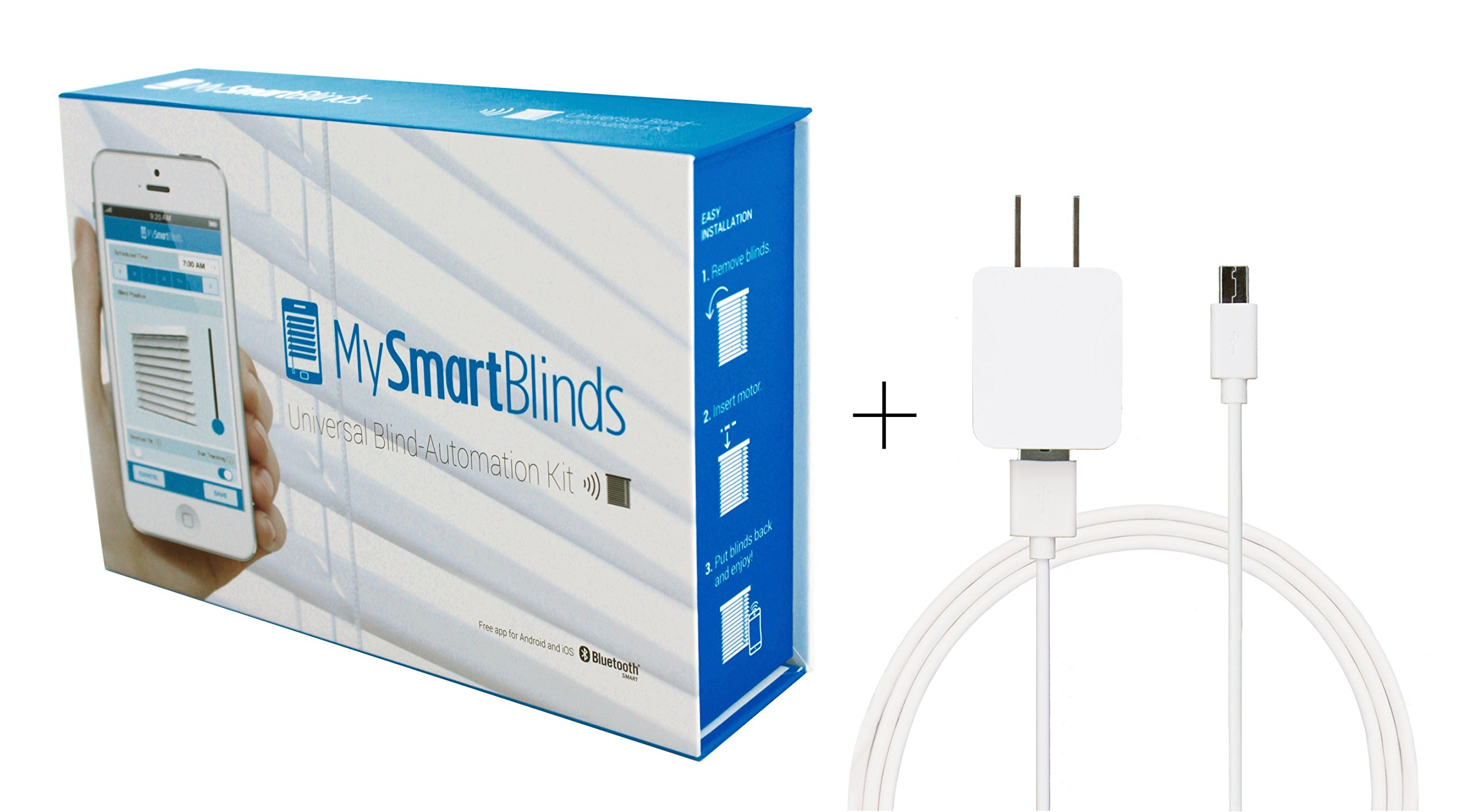 MySmartBlinds Automation Kit + USB charging cable - Convert standard horizontal blinds into automated window treatments in minutes - Charge with included power cord