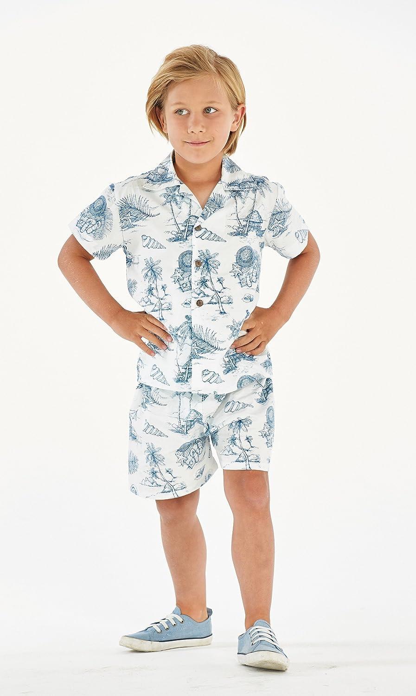 Hawaii Hangover Boy Aloha Luau Shirt Cabana Set in Flamingo in Love