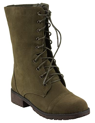 Women's Libby-12 Faux Suede Round Toe Lace-up Combat Style Lug-Sole Boots