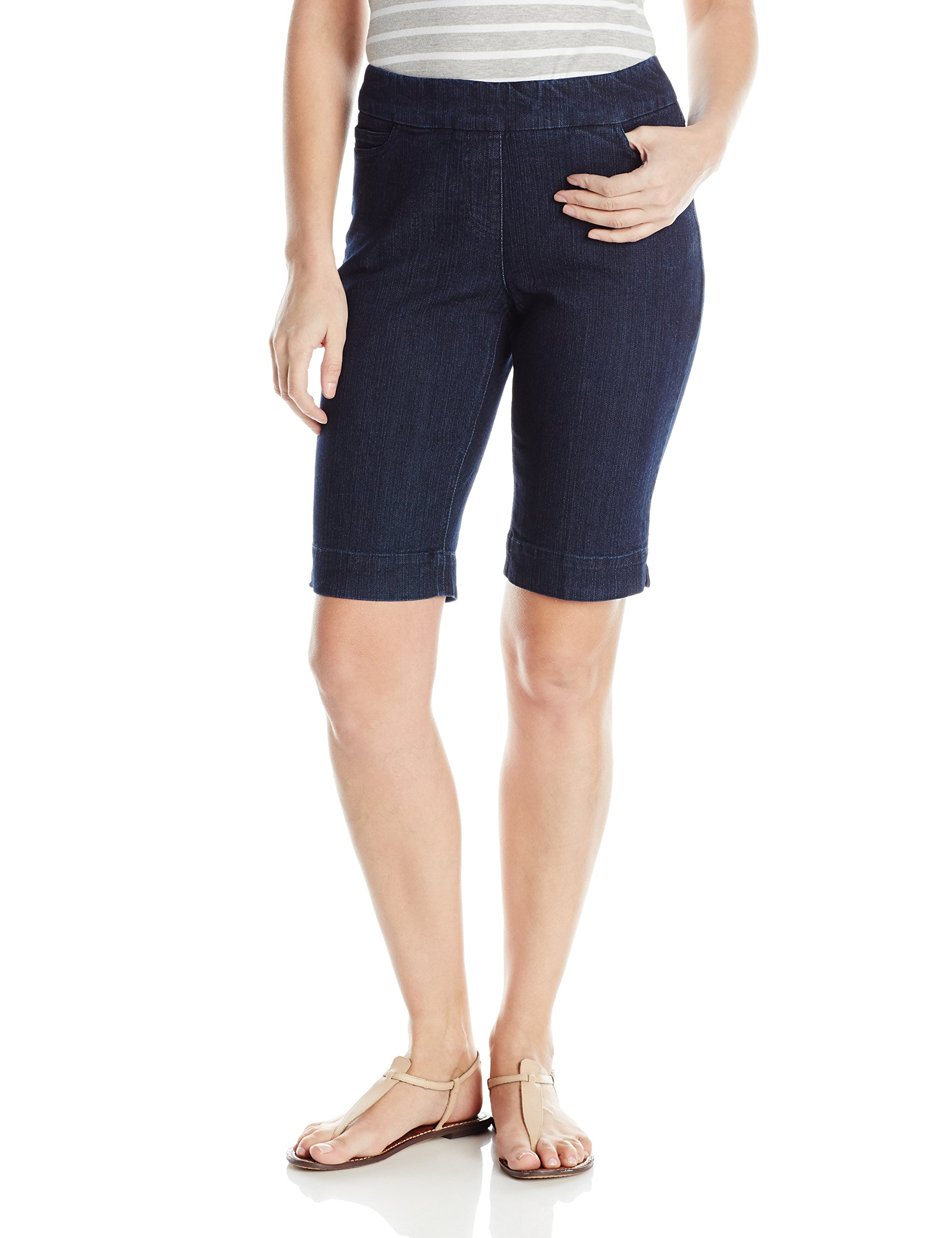 SLIM-SATION Women's Wide Band Pull-on Solid Walking Short, Demin, 12