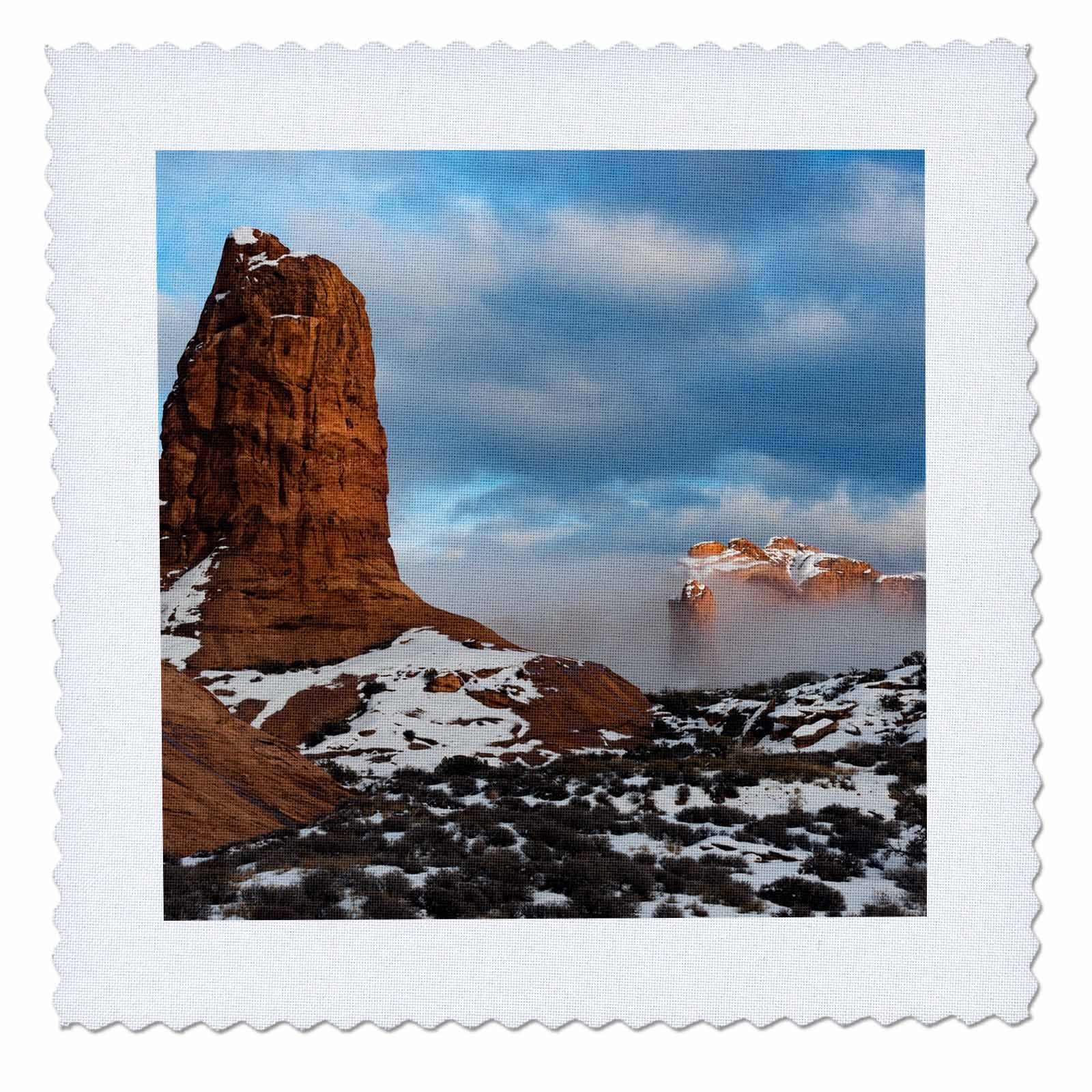 3dRose Danita Delimont - Utah - USA, Utah. Fog descending over eroded cliffs of the Windows Section - 16x16 inch quilt square (qs_260317_6)
