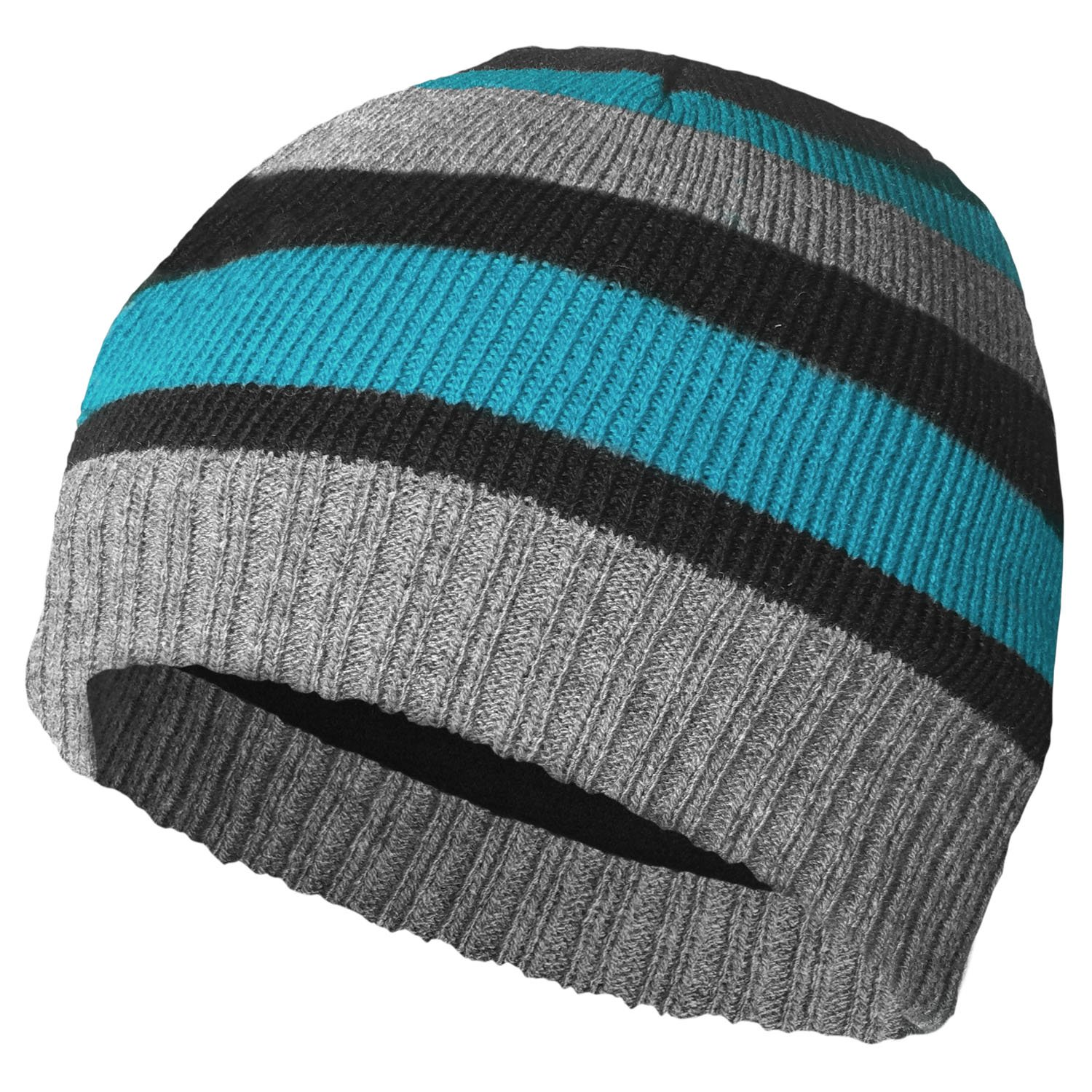 BOYS THINSULATE LINED KNITTED STRIPED BEANIE HAT