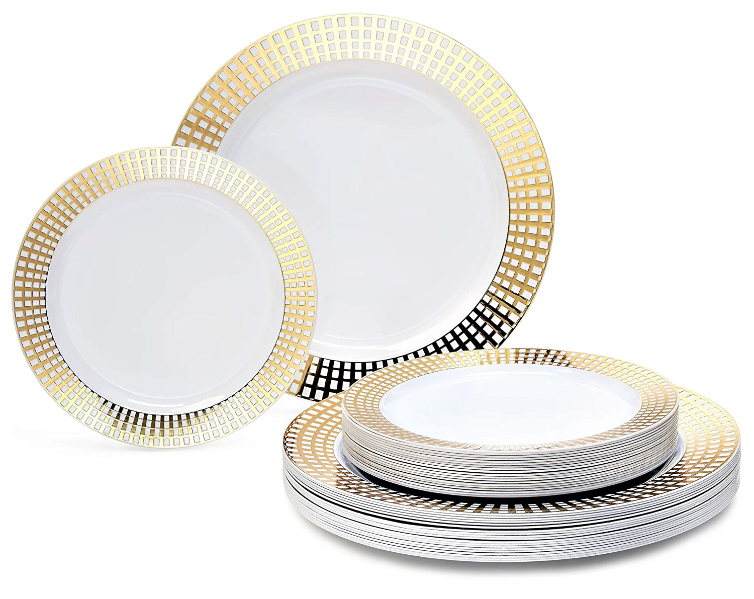 Princess White   gold 50 piece set (25 guests) 360 PIECE   60 guest  OCCASIONS  Wedding Disposable Plastic Plate and Silverware Combo (White Silver rim plates)