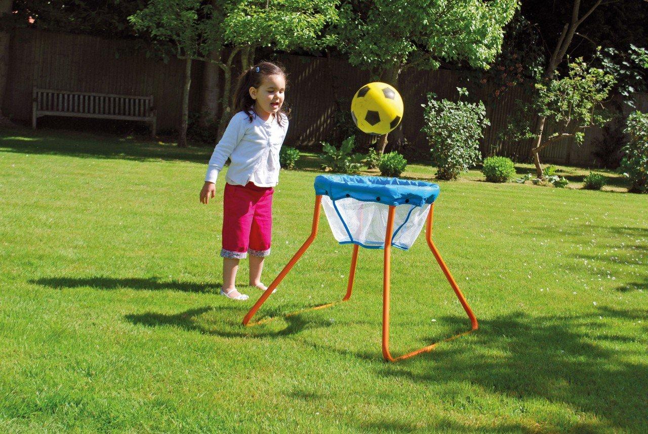 Standbasketballkorb klein / Durchmesser: 40 cm, Höhe: 60 cm / Material: lackiertes Stahlrohrgestell + Nylonnetz / ab 3 Jahre