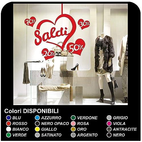 "2ffd231ff642ed Adesivi Saldi""Saldi cuoricini"" - Misure 60x65 cm Vetrofanie per  saldi, vetrine negozi"