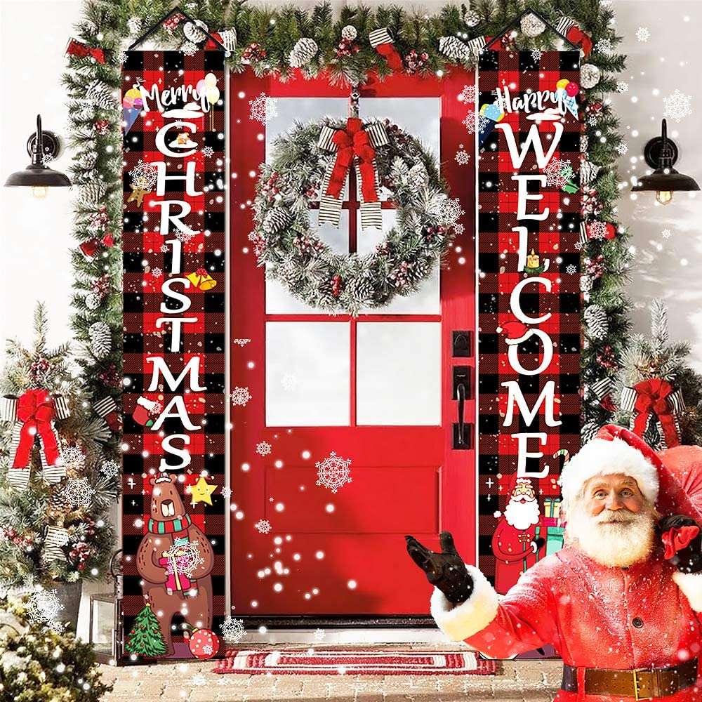 Merry Christmas Decorations Outdoor, Buffalo Plaid Welcome and Christmas New Year Porch Signs, Xmas Banners for Home Front Door Wall Yard Lawn Indoor Party Decor