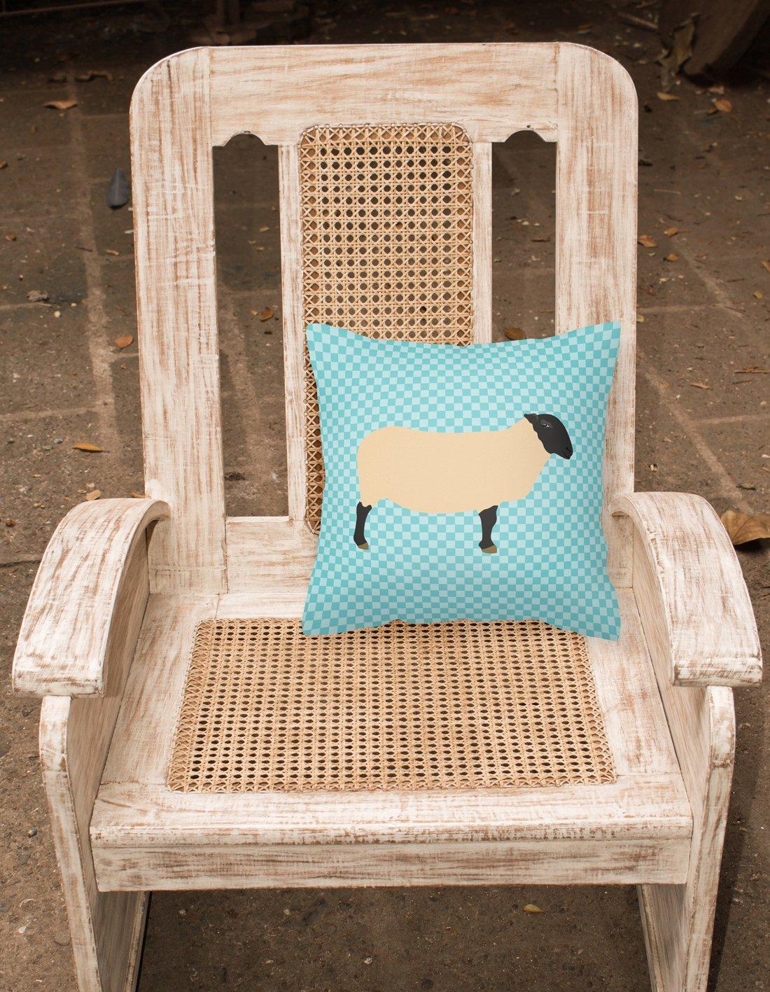 18H x18W Multicolor Carolines Treasures BB8146PW1818 Suffolk Sheep Blue Check Fabric Decorative Pillow