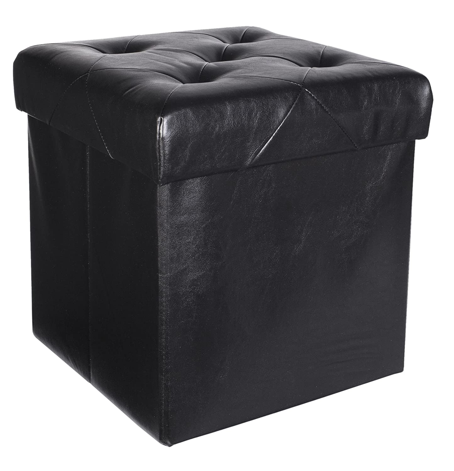 Black Red Co Premium Faux Leather Folding Cube Storage Ottoman with Padded Seat NDLFJG01 15 x 15 Black 15 x 15