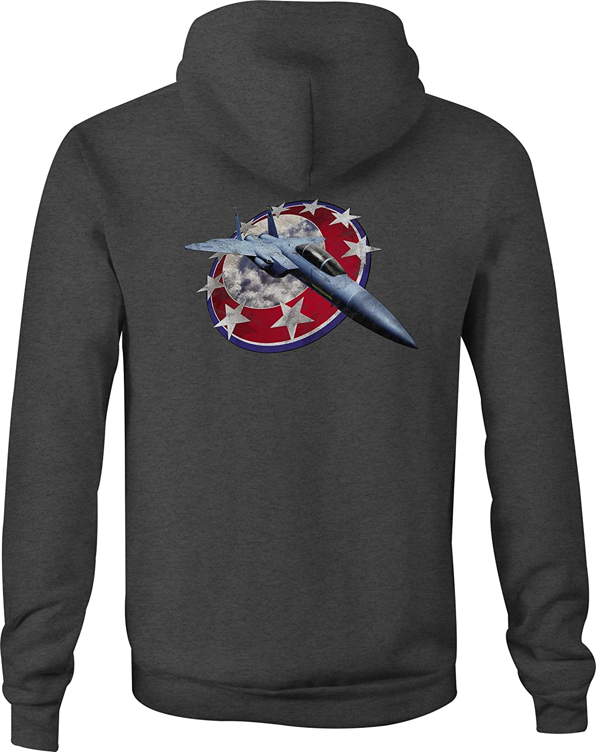 Zip Up Hoodie Fighter Jet Through Red White and Blue America Shield