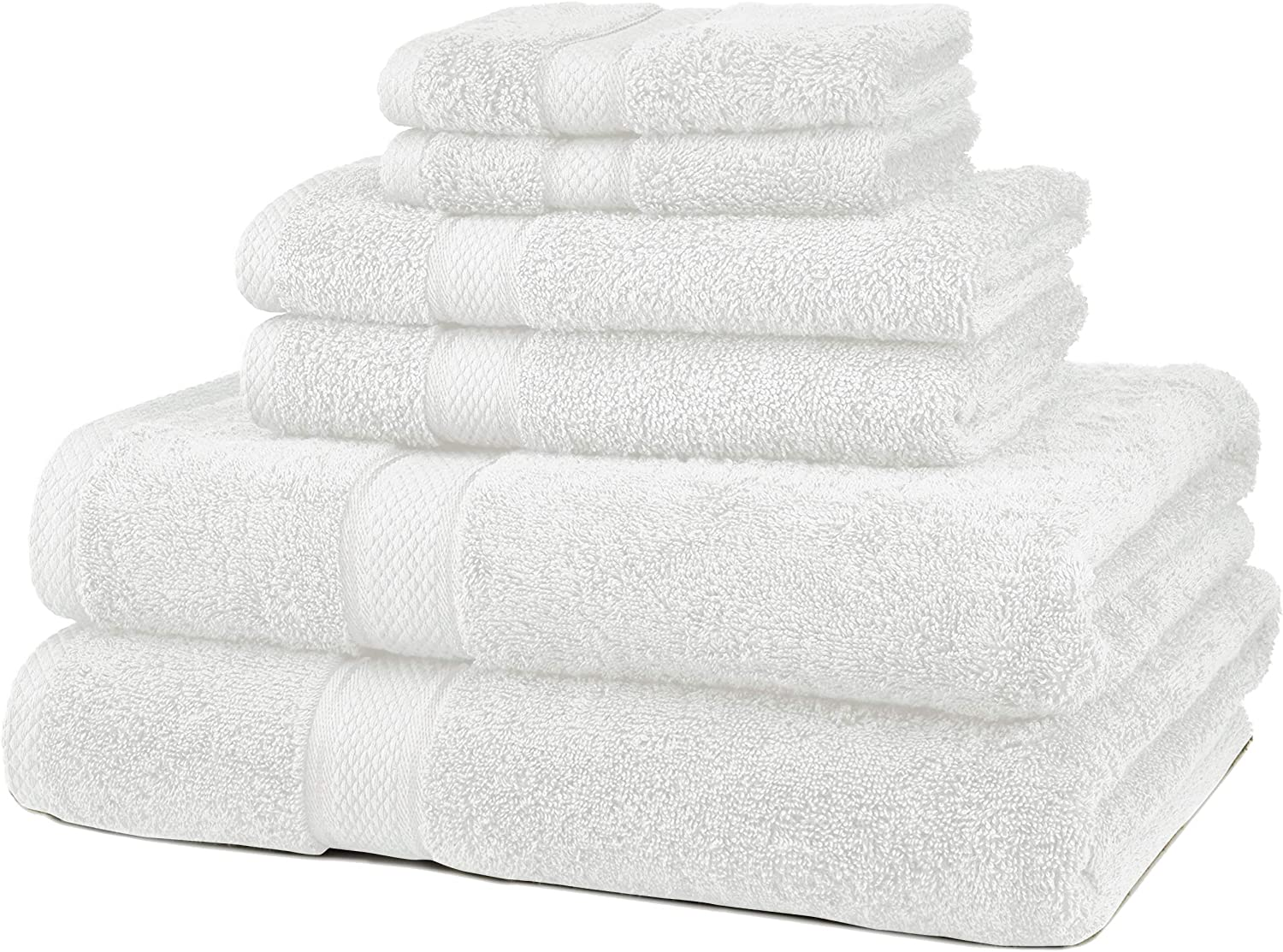 Pinzon 6 Piece Blended Egyptian Cotton Bath Towel Set - White: Home & Kitchen