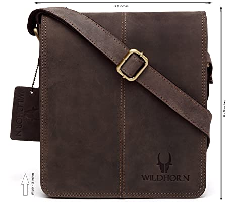 WildHorn Leather 20.32 cms Brown Messenger Bag (MB264)  Amazon.in ... 17830fd0e7f8c