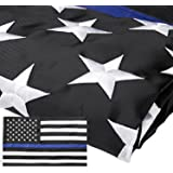 Homdox Thin Blue Line Flag 3x5 Ft Nylon Embroidered Stars Sewn Stripes Blue Line USA Banner Flags for Police and Law Enforcement Officers