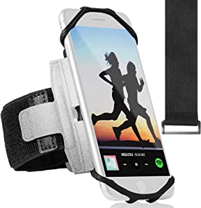 360° Rotatable Sports Running Armband for iPhone XR, XS Max, 8, 8 Plus, 7, 6, Samsung Galaxy A8, S9, S8, S6 Edge, Note, LG; Cell Phone Arm Holder for Men & Women with Free Extender Strap (Reflective)