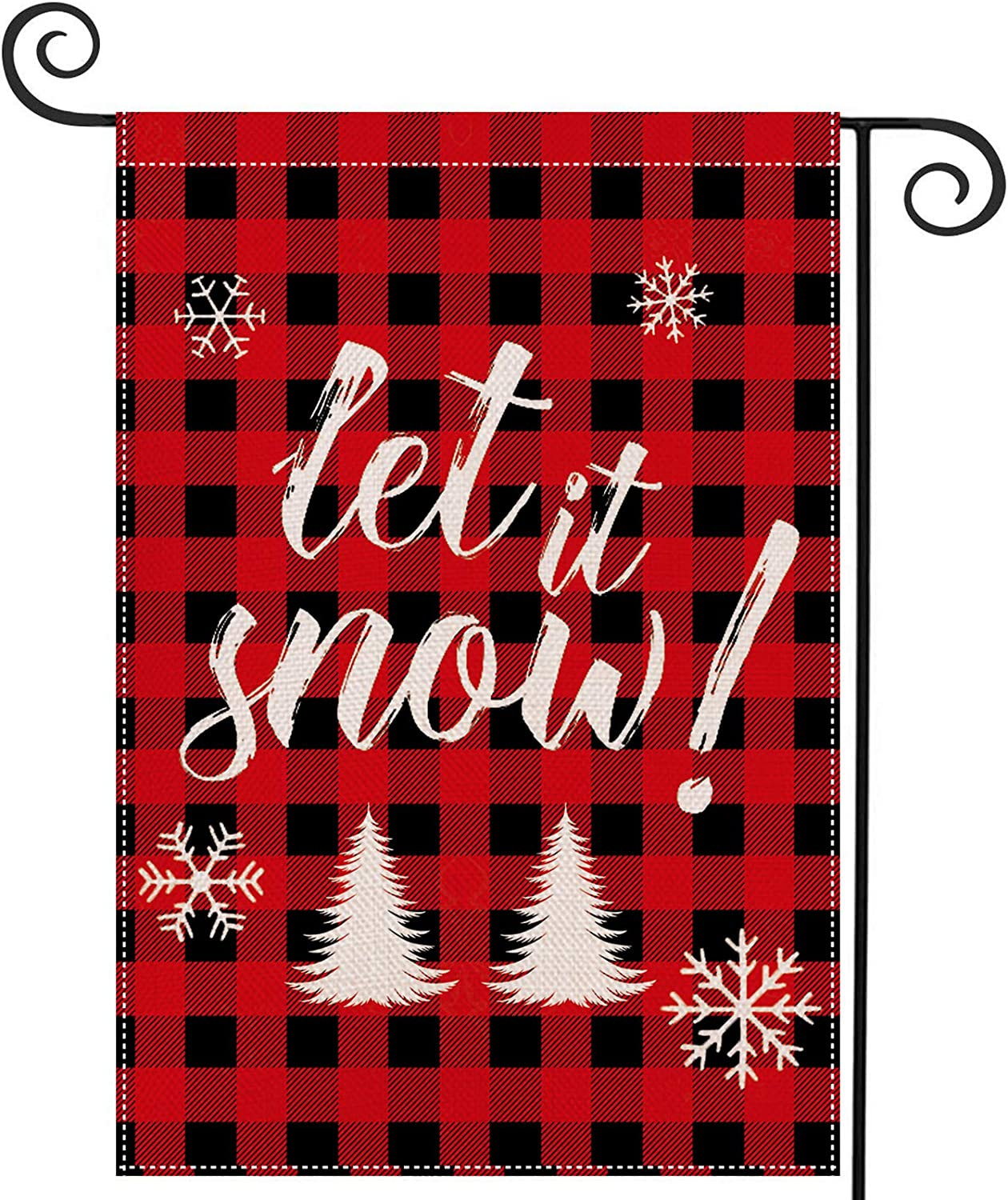 """EKOREST Christmas Garden Flag for Outside Let It Snow Flag Red Buffalo Plaid Christmas Decor 12.5"""" x 18"""" Vertical Double Sided Merry Christmas Yard Sign Winter Decorations Farmhouse for Patio Outdoor"""