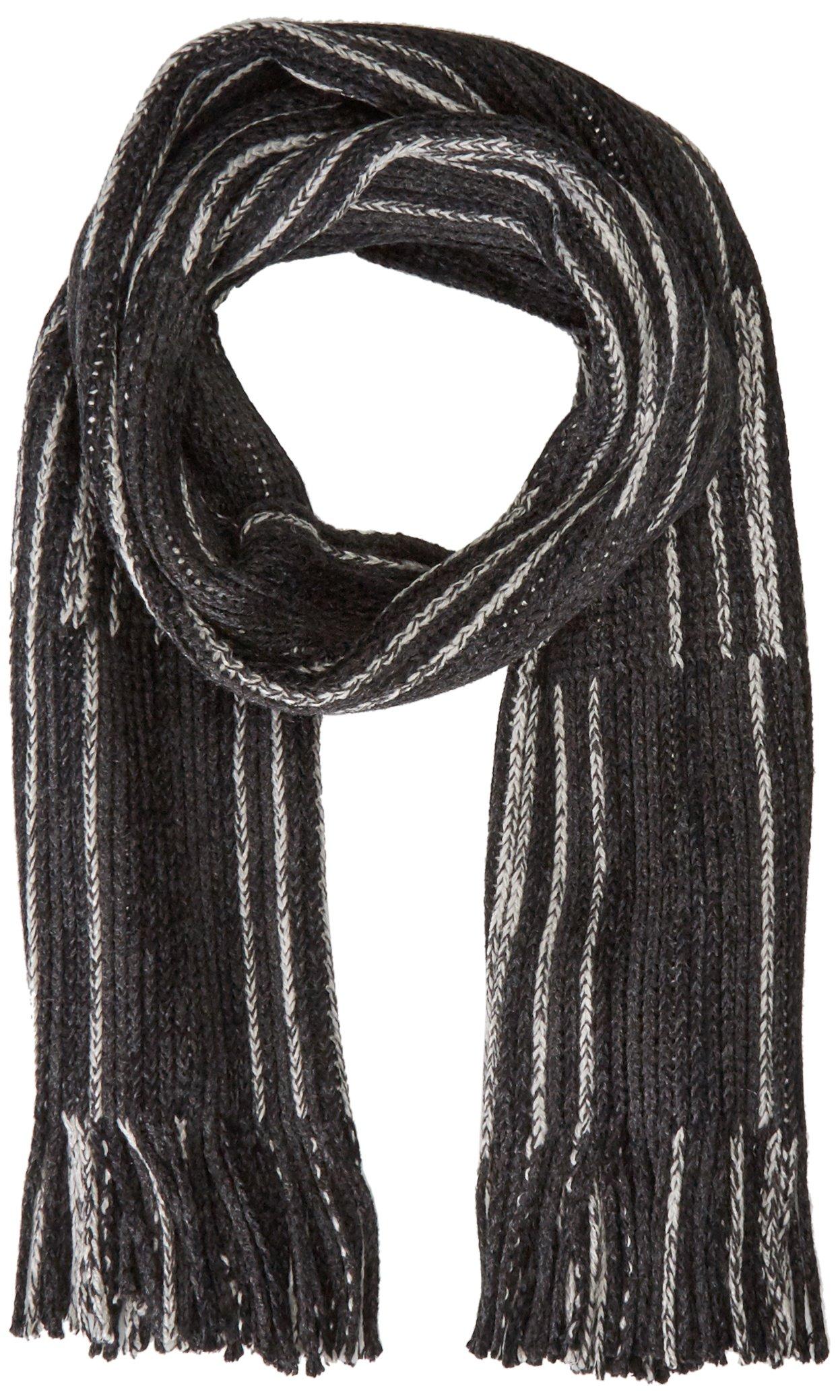 Calvin Klein Men's Color Shift Blocked Raschel Muffler Scarf, Black, One Size
