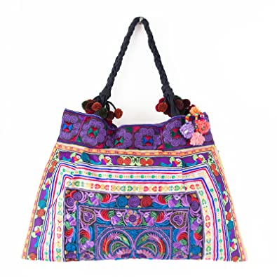 1663fe2dbd67 Amazon.com  Changnoi Unique Fair Trade Tote Bag Embroidered Fabric Large  Size from Thailand (Bird Purple)  Shoes