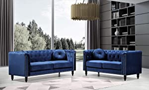 US Pride Furniture Whetzel Chesterfield Sofa and Loveseat Set Sectional, Dark Blue