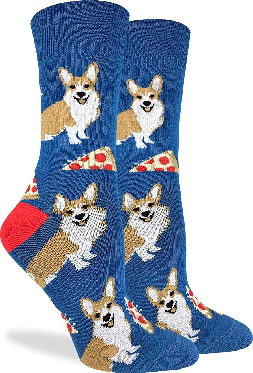Good Luck Sock Women's Corgi Pizza Socks - Blue, Adult Shoe Size 5-9