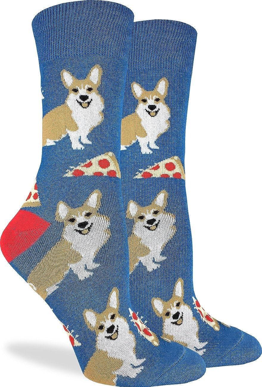 Good Luck Sock Women's Corgi Pizza Socks - Blue, Adult Shoe Size 5-9 3117