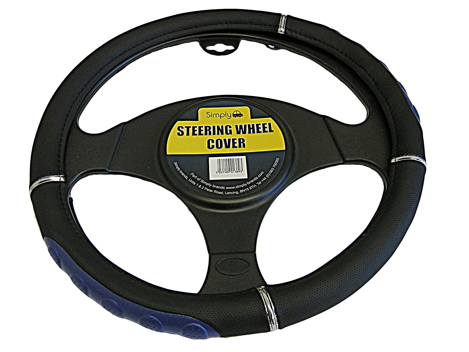 Simply SWC105 Luxury Steering Wheel Cover Black with Blue Detail for Car Interior, Medium Size 37 - 39cm Diameter, Universal Easy to Fit, Comfortable Grip JRP Distribution