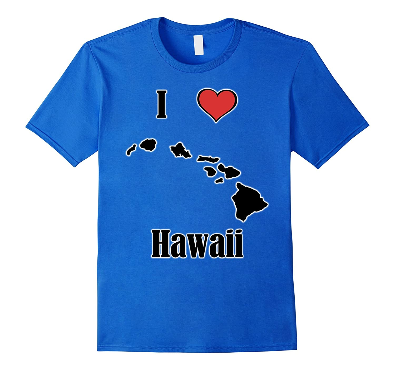 I Love Hawaii Souvenir T-Shirt State Islands Shape-PL