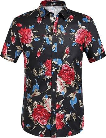 4bcff4bb156e6 SSLR Chemise Casual Homme Manche Courte Slim Fit à Fleurs Rose Imprimé  (Small, Noir