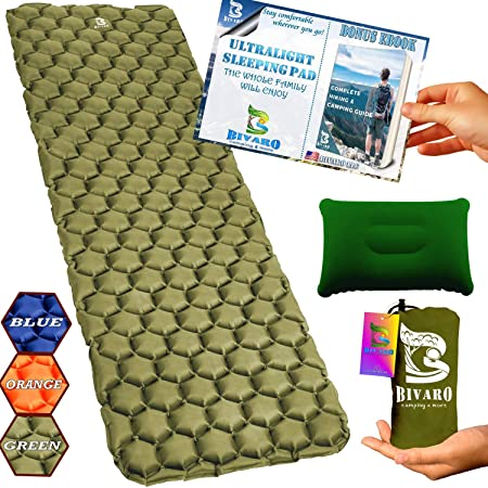 BIVARO Ultralight Sleeping Pad Green for Backpacking -Travel and Hiking Lightweight Pillow Ebook Complete Bundle. Waterproof Camping Mattress Best for Sleeping Bag,Hammock and Tent.