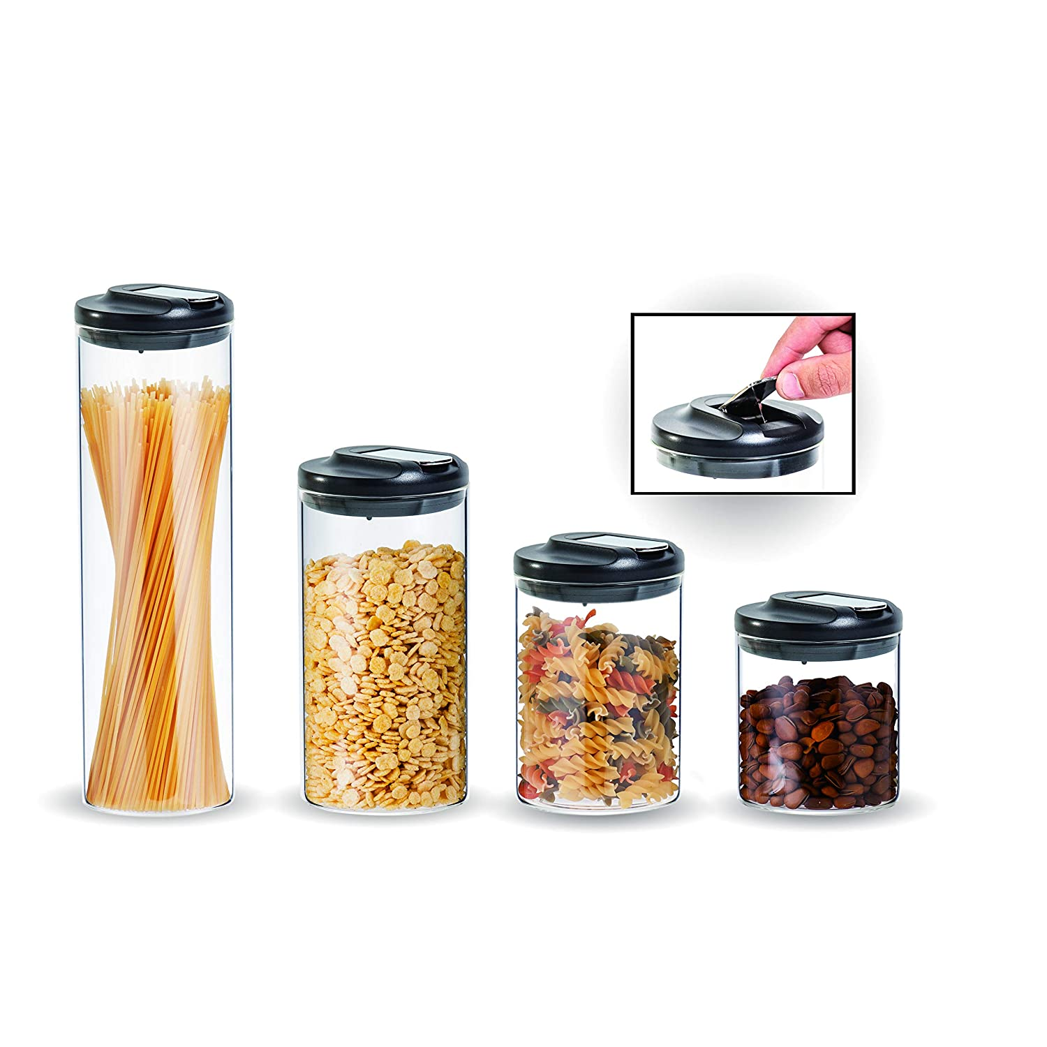RhinoGlass 4-piece kitchen storage container set, heavy-duty airtight lid, premium zinc-silicone seal, durable food-safe borosilicate glass jars, perfect for cereal, pasta, pet treats, snacks, baking