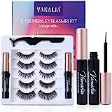 Vanalia Magnetic Eyelashes with Eyeliner,Magnetic Eyelashes and Lashes Kit,3D 5D False Lashes, 5 Pairs with Tweezers, Easy to