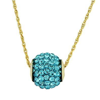 789548e7bb4e Amazon.com  Jewelili 10kt Yellow Gold Light Turquoise Swarovski ...