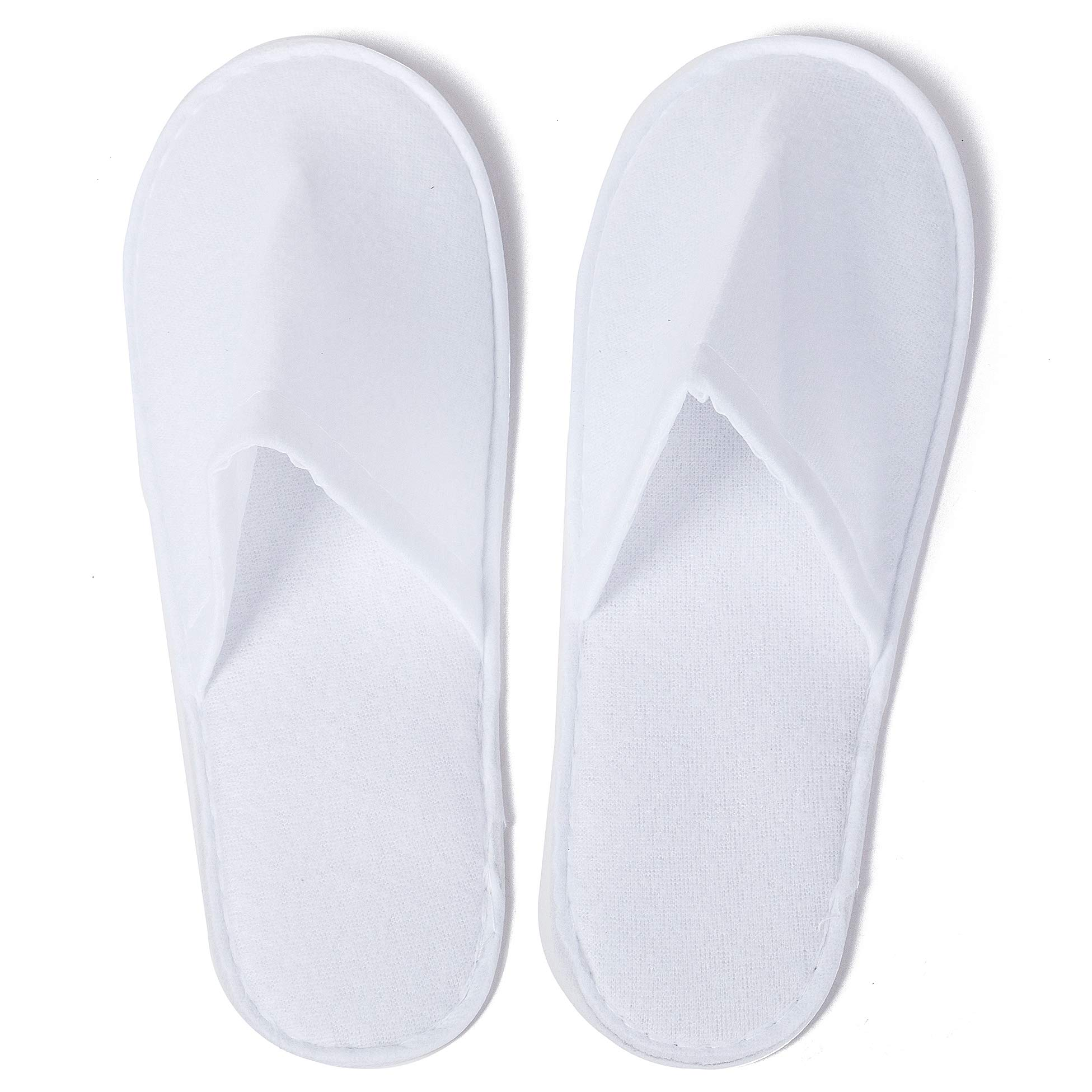 25 Pack Pairs Disposable Spa Slippers Hotel Closed Toe Bulk Salon Shoes Hospitality Motel Guest White Soft Terrycloth 7-11 US Men or 8-12 US Women by Xena