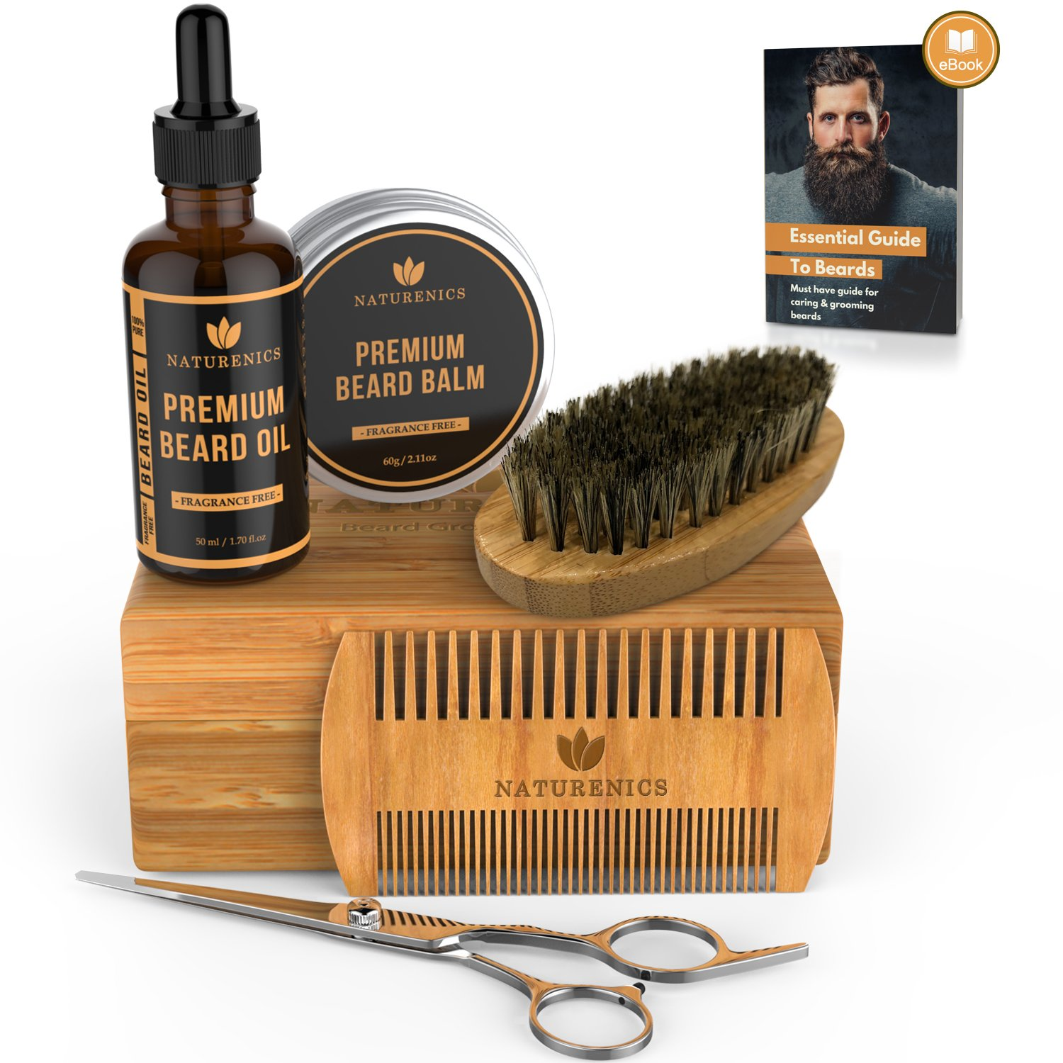 Naturenics Premium Beard Grooming & Trimming Kit for Mens Hair Care   Unscented Beard & Mustache Growth Oil, Wax Balm Butter, Brush, Dual Teeth Comb, Barber Scissors with Bamboo Gift Box & eBook