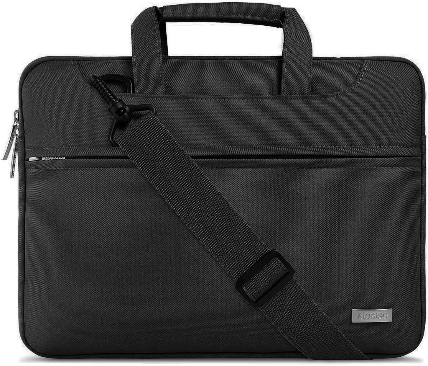 MOSISO Laptop Shoulder Bag Compatible with 13-13.3 inch MacBook Pro, MacBook Air, Notebook Computer, Polyester Sleeve with Back Trolley Belt, Black