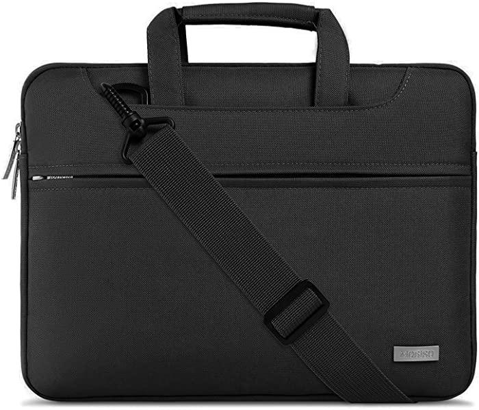 MOSISO Laptop Shoulder Bag Compatible with 2019 MacBook Pro 16 inch with Touch Bar A2141, 15-15.6 inch MacBook Pro Retina 2012-2015, Notebook, Polyester Sleeve with Back Trolley Belt, Black